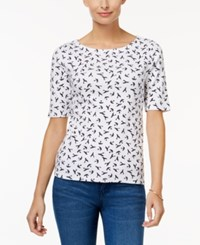 Charter Club Cotton Printed Boat Neck Top Only At Macy's Bright White