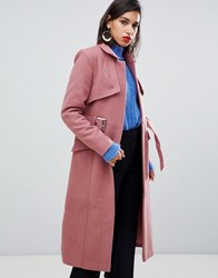 Y.A.S Belted Wool Coat Withered Rose Pink