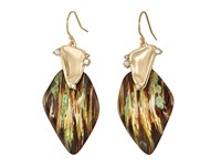 Alexis Bittar Wood Grain Wire With Satellite Crystal Detail Earrings Iridescent Wood Grain Earring Gold