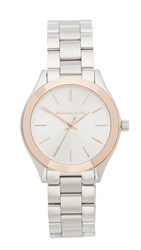 Michael Kors Mini Slim Runway Watch Silver Rose Gold