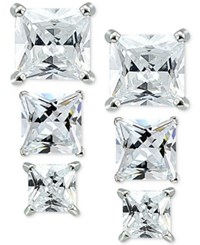 Giani Bernini 3 Pc. Set Cubic Zirconia Square Stud Earrings In Sterling Silver Only At Macy's