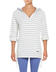 Marc New York Striped Hooded Pullover Light Grey Heather