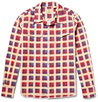 Levi's Vintage Clothing Shorthorn Camp Collar Checked Cotton Flannel Shirt Red