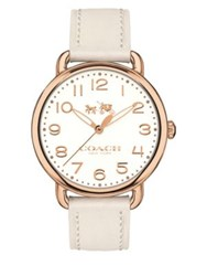 Coach Delancey Rose Goldtone Leather Watch White