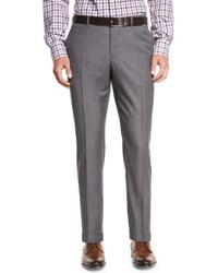 Isaia Twill Flat Front Trousers Light Gray Light Grey