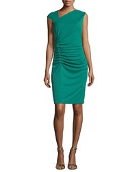 Halston Cap Sleeve Ruched Cocktail Dress Emerald Green