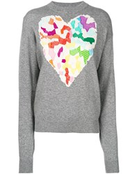 Barrie Heart Knit Sweater Grey