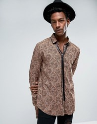 Asos Regular Fit Viscose Shirt With Pussy Bow And Paisley Print In Brown Brown