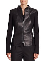 Lafayette 148 New York Laura Leather And Ponte Knit Jacket Black