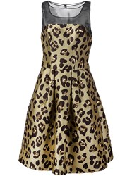 Carolina Herrera Cheetah Cocktail Dress Metallic