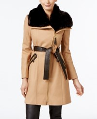 Via Spiga Faux Fur Collar Mixed Media Wool Blend Walker Coat Only At Macy's Camel