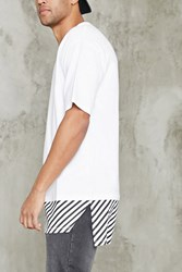 Forever 21 Striped Longline Crew Neck Tee White Black