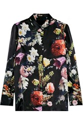 Adam By Adam Lippes Floral Print Silk Shirt Black