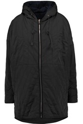 Maje Quilted Shell Hooded Coat Midnight Blue