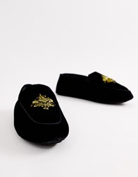 Dunlop Embroidered Velvet Loafer Slipper Black
