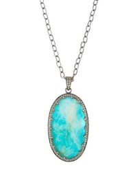 Bavna Long Oval Turquoise And Diamond Pendant Necklace