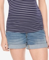 Motherhood Maternity Cuffed Denim Shorts Medium Wash