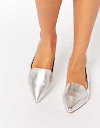 Asos Live A Little Pointed Ballet Flats Silver