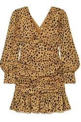Nicholas Ruched Ruffled Leopard Print Silk Crepe Mini Dress Leopard Print