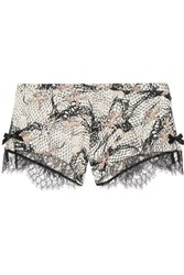Agent Provocateur Pearle Leavers Lace Trimmed Printed Stretch Silk Satin Briefs Off White