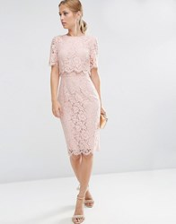 Asos Lace Crop Top Midi Pencil Dress Nude Pink