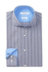 Isaac Mizrahi Long Sleeve Slim Fit Tonal Plaid Dress Shirt Blue