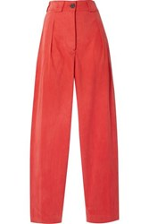 Mara Hoffman Jade Herringbone Tencel And Organic Cotton Blend Tapered Pants Papaya