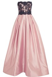 Reem Acra Strapless Silk Blend And Lace Gown Baby Pink
