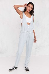 Obey Button Front Chambray Jumpsuit Light Blue