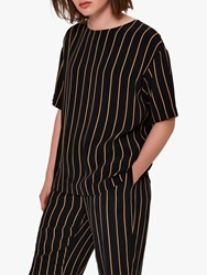 Selected Femme Alessa Stripe Top Black Camel