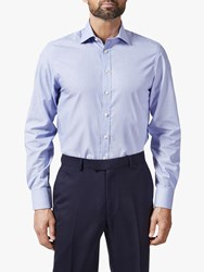 Chester Barrie By Hairline Stripe Stretch Shirt Blue