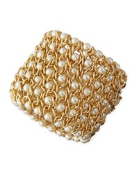 Gold Plated Mesh Bracelet With Simulated Pearls Kenneth Jay Lane