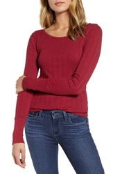 Hinge Pointelle Knit Button Cuff Top Red Rumba