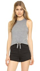 Chaser Tie Front Muscle Tee Streaky Grey