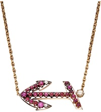 Annina Vogel Bespoke Diamond And Ruby Anchor Necklace