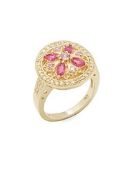 Effy Diamond Pink Sapphire Ruby And 14K Yellow Gold Cocktail Ring