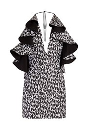Balmain Ruffled Leopard Print Mini Dress Black White