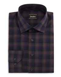 Neiman Marcus Check Print Button Front Shirt Dark Purpl
