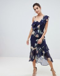 Hope And Ivy Floral Layered Shoulder Dress With Ruffle Asymetric Hem Navy Floral