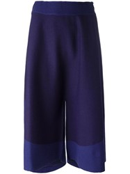 Issey Miyake Elasticated Waistband Cropped Trousers Pink Purple