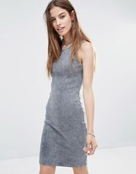 Noisy May Ribbed Tank Dress Asphalt Washed Grey