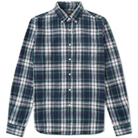 Beams Plus Button Down Shaggy Tartan Shirt Blue