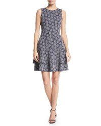 Michael Michael Kors Field Of Flowers Sleeveless Fit And Flare Jacquard Dress True Navy White