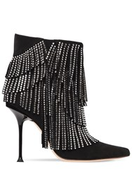 Sergio Rossi 105Mm Embellished Suede Ankle Boots Black
