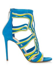 Peter Pilotto Cage Leather And Suede Sandals Blue Multi