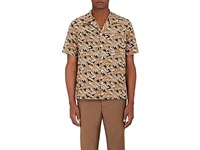 Valentino Men's Banana Leaf Print Cotton Bowling Shirt Tan