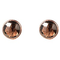 Latelita London Rosegold Large Circle Stud Smokey Quartz Nude Neutrals Brown