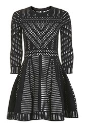 Topshop Geometric Pattern Fit And Flare Knitted Dress Monochrome