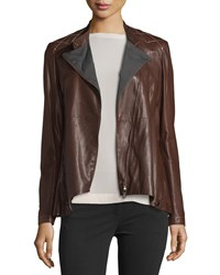 Brunello Cucinelli Asymmetric Leather Jacket Brown