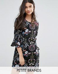 Yumi Petite Shift Dress With Frill Sleeves In Patchwork Print Black